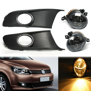 Pair-Front-Fog-lights-amp-Protect-Cover-Grille-Set-For-VW-TOURAN-CADDY-2010-2014
