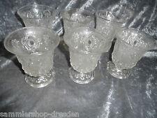 23729 6 alte Preßglas Becher barockstil vint cup Thumbler pressed glass