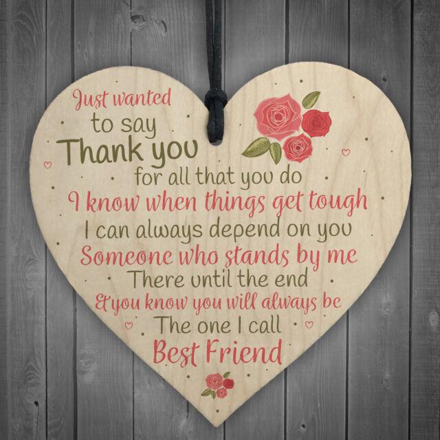 Friendship Thank You Birthday Gift Best Friend Plaque Wooden Heart Sign Keepsake