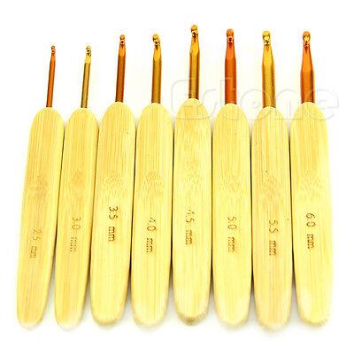 8Pcs 8 Sizes Bamboo Handle Alumina Head Crochet Weave Hooks Needles  2.5mm-6.0mm