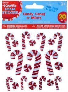 "20pcs Foamies Holiday Foam Glitter Stickers Christmas /""Candy Cane /& Mints/"""