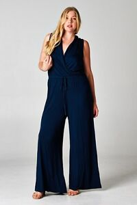 Chic Navy Woman Maxi Palazzo Pant Jumpsuit Plus Sizes 14 to 18 CURVED BY NATURE