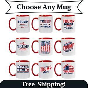 Funny Donald Trump Red Handle Ceramic Coffee Mug MAGA Re-Elect Trump Pence Gift