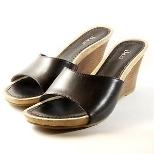 Bass-Carmela-Sandal-Women-Size-6-5-Black-Leather-Wedges