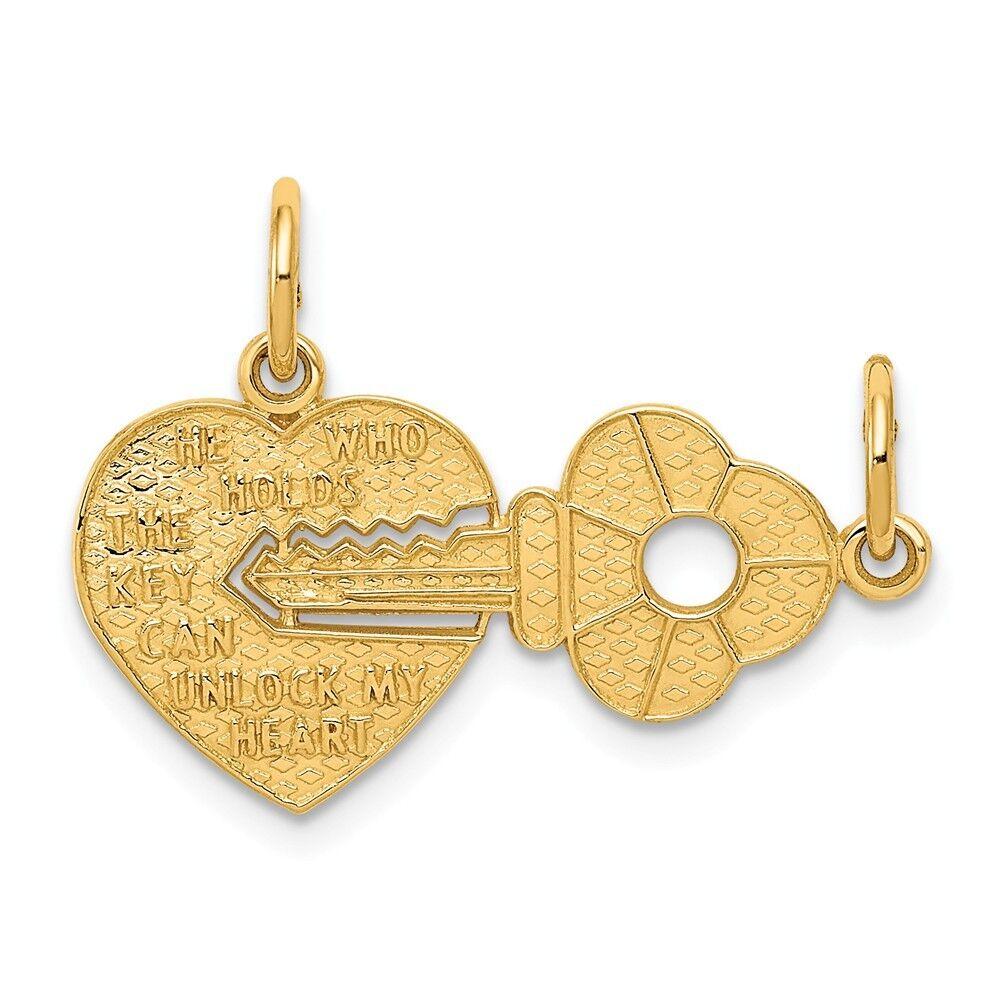 14k Yellow gold Heart & Key Break Apart Charm Pendant 0.75 Inch