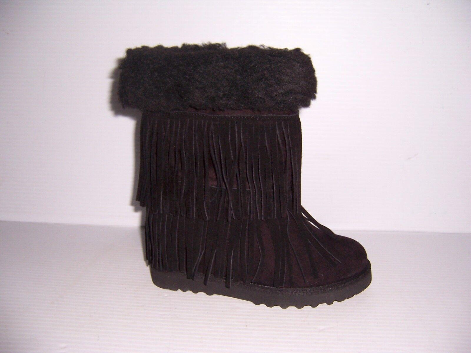 Madden Girl Sleet Women's Black Fringe Wedge Boots Various Sizes NEW