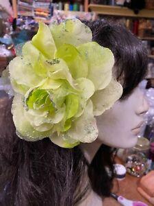 "New Millinery Flower 6"" Silk Organza 1pc Accessory Glitter Clip/Pin Key Lime"
