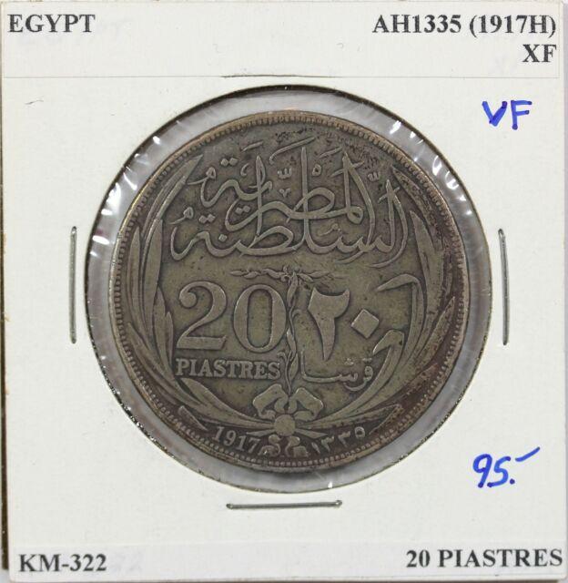 AH1335 (1917H) Egypt 20 Piastres, VF, KM-322