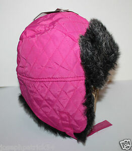 161c5023bcc7b7 Details about Peak 2 Peak NWT Girls 2T 3T 4T 5T Dark Pink Quilted Bomber Trapper  Hat w Fur