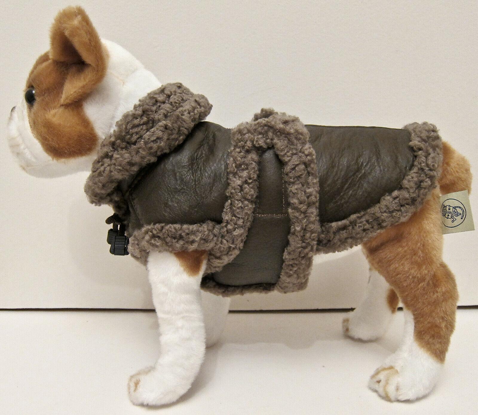 New Genuine braun Shearling Sheepskin Fur Dog Coat Jacket Vest Größe 8 XS S Toy