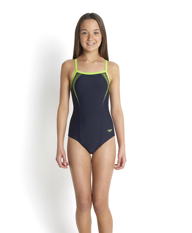177b29529e173 Speedo Costume Swimming Pool Girl Sports Logo Endurance10 Navy green ...
