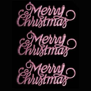 Christmas Decoration 3 Pack Glitter Merry Christmas Signs Pink