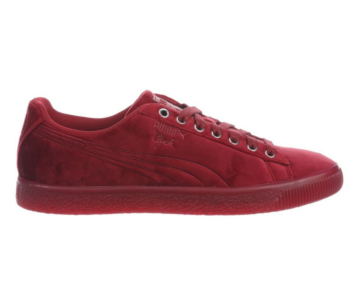 Puma Clyde Velour Ice Mens 366549-04 Tibetan Red Velvet Athletic Shoes Comfortable