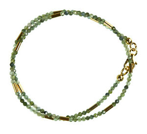 Turmalin-gruen-Wickel-Armband-925-Silber-vergoldet-Armkette-Z386