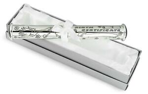 Personalised Silver Plated Christening Certificate Holder Engraved with Your Details