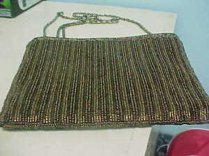 905c5d25927e Image is loading LOOK-Magid-Vintage-BRONZE-Gold-Beaded-Evening-Purse-