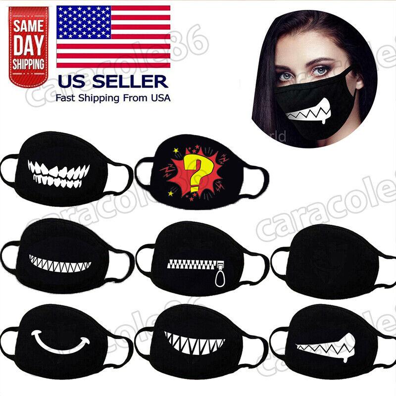 1X Women Men Cotton Face Masks Pattern Solid Black Mask Half Face Mouth UV