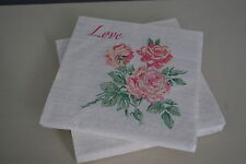 20 PAPER NAPKINS VINTAGE CREAM PEACH ROSE 'LOVE' COCKTAIL PARTY AFTERNOON TEA