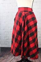 Vintage Sz 8 Buffalo Plaid Red Black Wool Blend Flared Calf Length Skirt Pockets