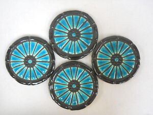 WAGON WHEEL Mosaic Handmade Ceramic Tile Coasters - Peking Blue Spokes -Set of 4