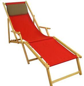 Chaise Longue Rouge Repose Pied Coussin Pliable Bois