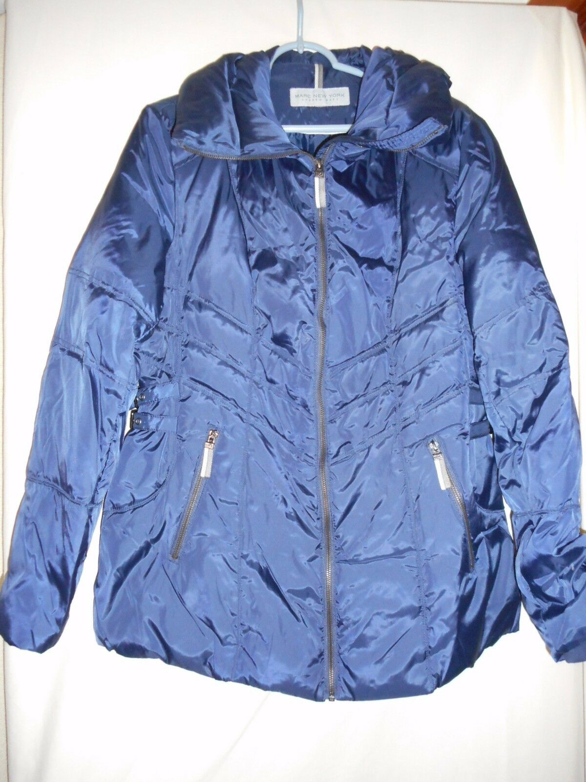 Marc New York Andrew Marc bluee Women's zip Down filled Puffer coat Size M
