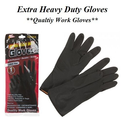 80g Heavy Duty Gloves Household Garden Industrial Black Rubber Latex Flock Lined