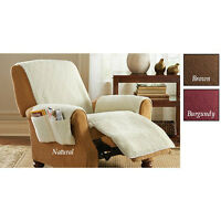 Snuggle Poly Fleece Comfort Recliner Cover With 4 Pockets 2 Types 4 Colors