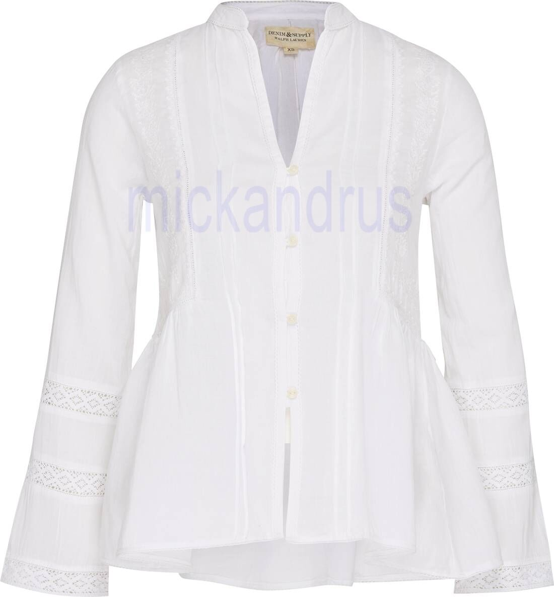 NWT Denim&Supply by Ralph Lauren White Cotton Embroidered Embellished Top Sz S