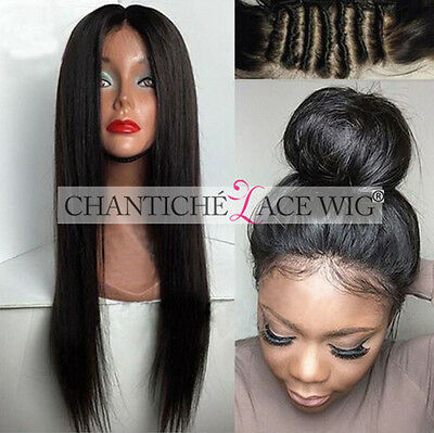 Indian Remy Human Hair Full Lace Wigs Black Women Silky Straight Lace Front Wig