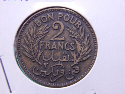 French Tunisia 1924 AH 1343 2 Francs UNC Nice Aluminum Bronze Coin
