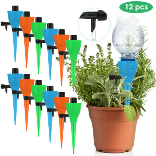 12x Garden Plant Self Watering Spikes-Stake Water Drop Device with Control-Valve