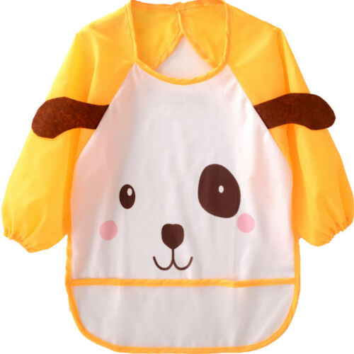 Baby Toddler Kids Long Sleeve Waterproof Feeding Art Apron Bib Smock Boys Girls