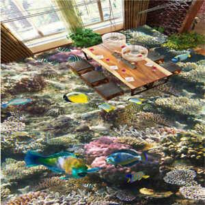 koralle nizza fisch algen 3d fu boden wandgem lde foto bodenbelag tapete zuhause ebay. Black Bedroom Furniture Sets. Home Design Ideas