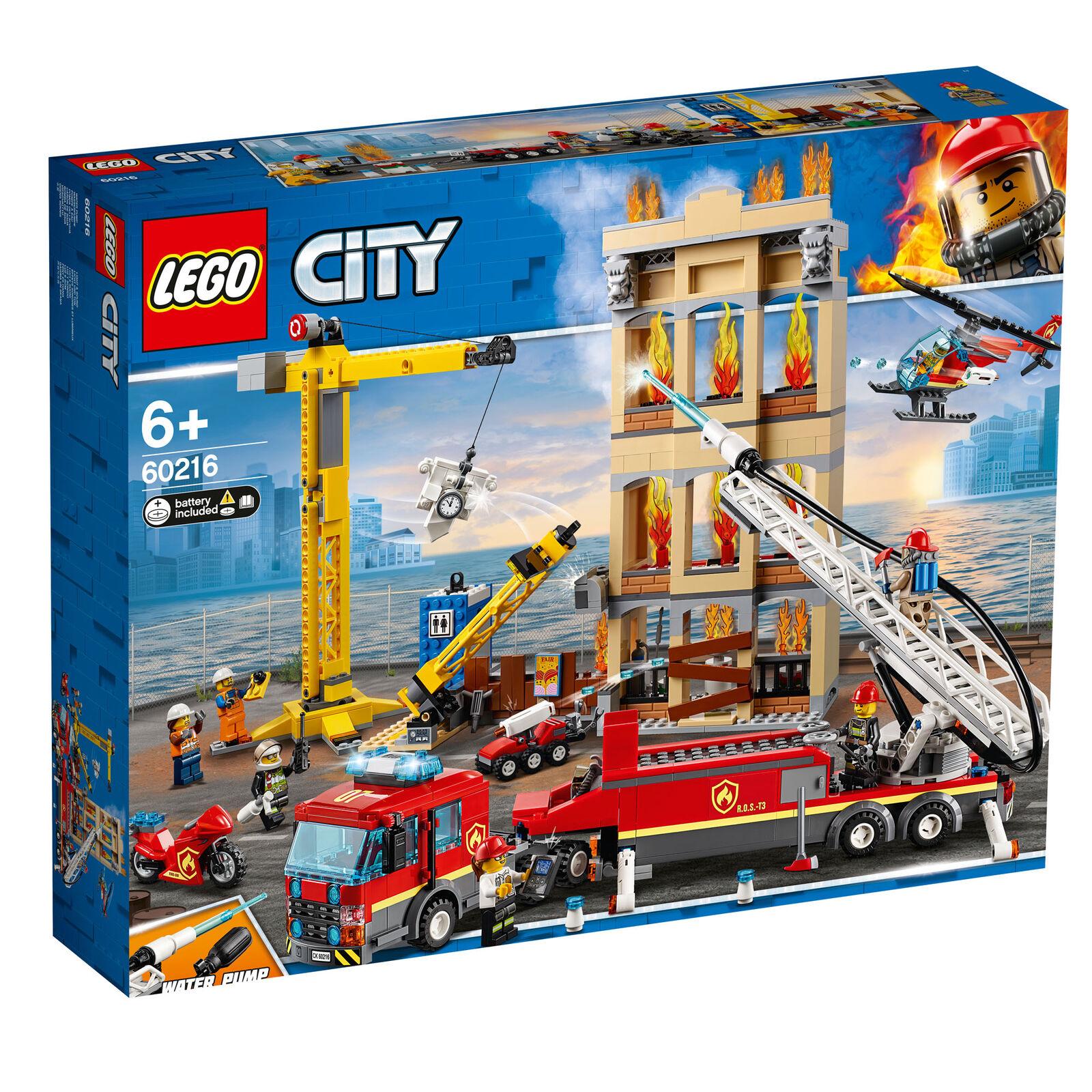 60216 LEGO CITY Downtown pompiers 943 PIECES 6 ans nouvelle version pour 2019