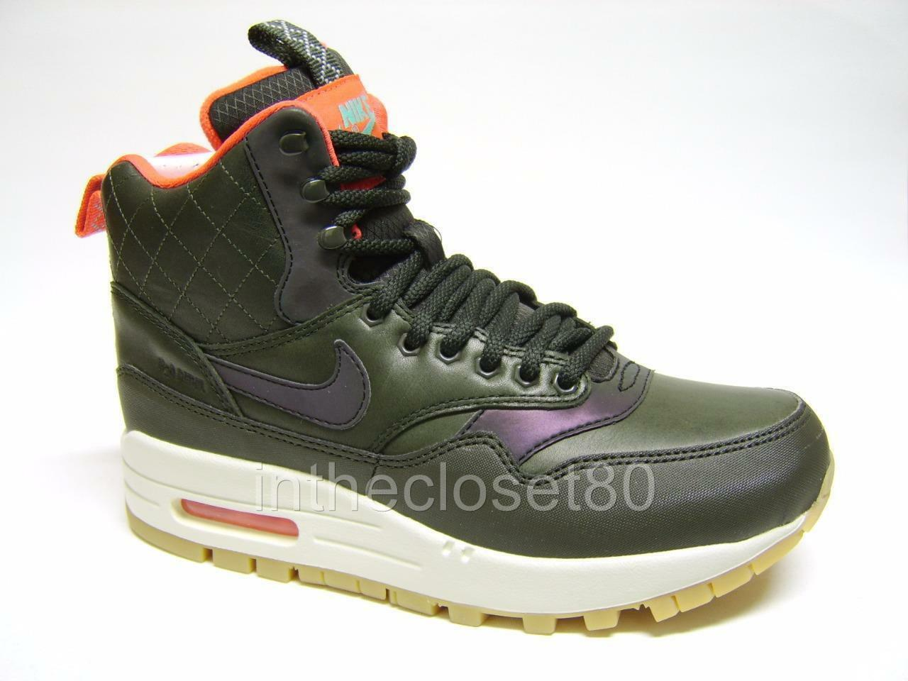 Wo Hommes Nike Air Max 1 Mid Sneakerboot Reflect Trainer Boot Sequoia 807307 300