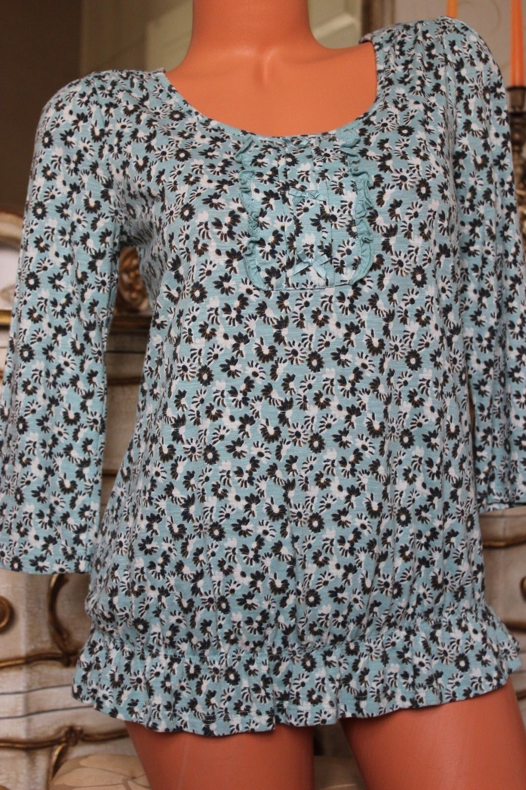 (Ref 21) MONSOON Cotton Mix Ladies Elasticated  Floral Print  Top   Tunic size S