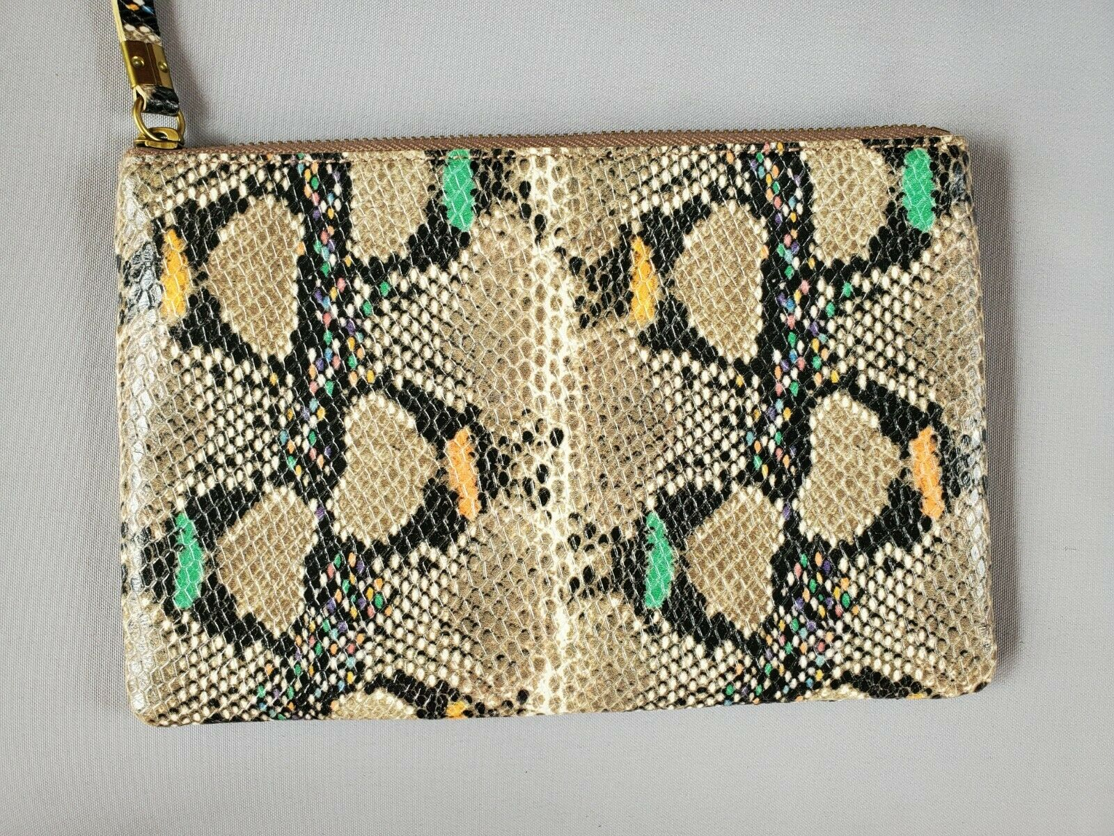 Madewell The Leather Pouch Clutch: Snake Embossed Edition New With Tag
