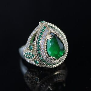 925-Sterling-Silver-Handmade-Authentic-Turkish-Emerald-Ladies-Ring-Size-7-9