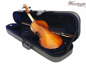 Euro-Style-4-4-Solid-Wood-Ebony-Violin-Bow-Rosin-Case-String-Set-Shoulder-Rest