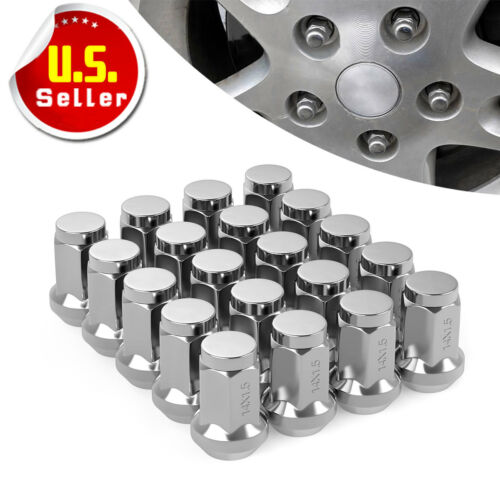 20 Close End Chrome 14x1.5 Wheel Lug Nut Bulge Acorn for Chevy GMC Ford Cadillac