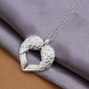 1pc-925-Silver-Plated-Jewelry-Angel-Wings-Feather-Heart-Necklace-Pendant