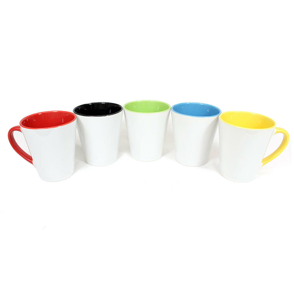 Sublimation Latte mugs 12 oz (environ 340.19 g) Inner Rim & Poignée Couleur Latte mugs Heat Press Print