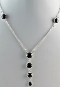 Black-Onyx-925-Solid-Sterling-Silver-Handmade-Pendant-Chain-Necklace-for-Women