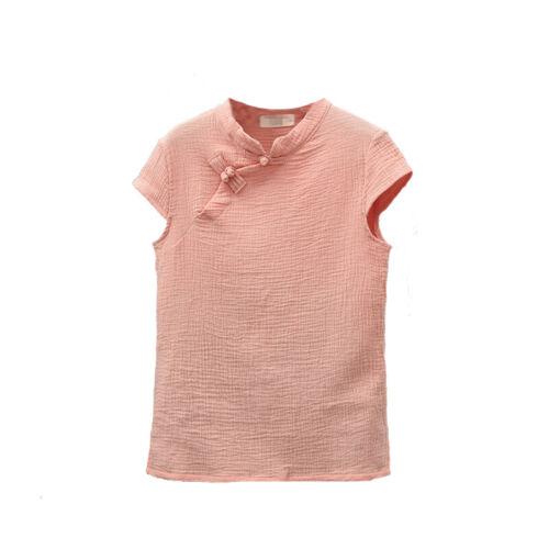 Femmes Vintage Cotton Button Down T-shirt Slim à manches courtes lin Tops Blouse Tee