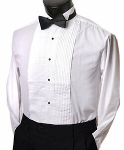 Tuxedo shirt with black bow tie wing collar studs all for Stud sets tuxedo shirts