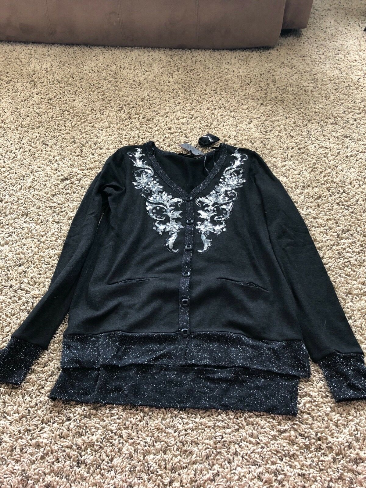 Awesome  NWT Miss Me Knit Long Sleeve Embellished Shirt Top Größe Medium