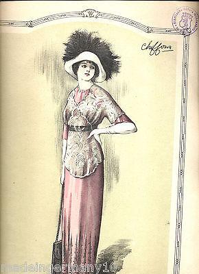 """""""chiffons"""" 1911 Franz. Mode Illustrate Timbrato Dalla Libreria Webschulen-mostra Il Titolo Originale Buono Per Succhietto Antipiretico E Per La Gola"""