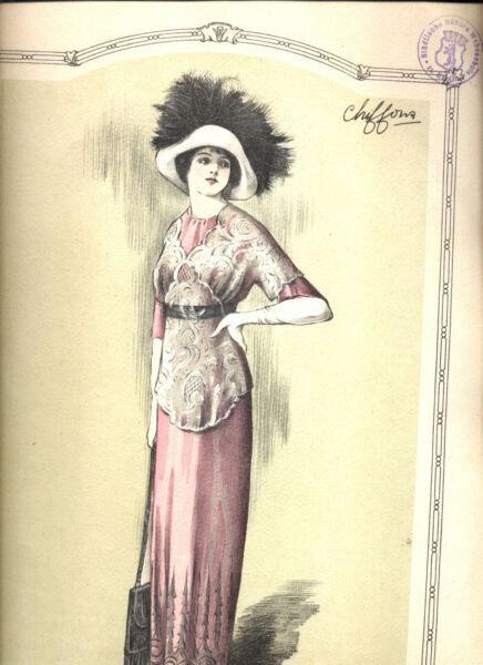 """""""chiffons"""" 1911 Franz. Mode Illustrate Timbrato Dalla Libreria Webschulen Delizioso Nel Gusto"""