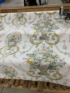 Vintage-Schumacher-Toile-Floral-Cotton-Drapery-Fabric-54-Wide-By-the-Yard